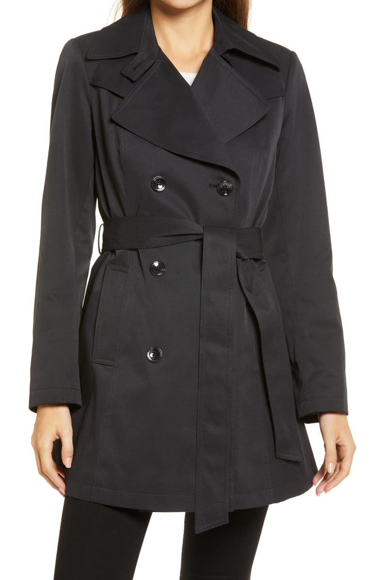 VIA SPIGA Double Breasted Belted Raincoat, Main, color, BLACK