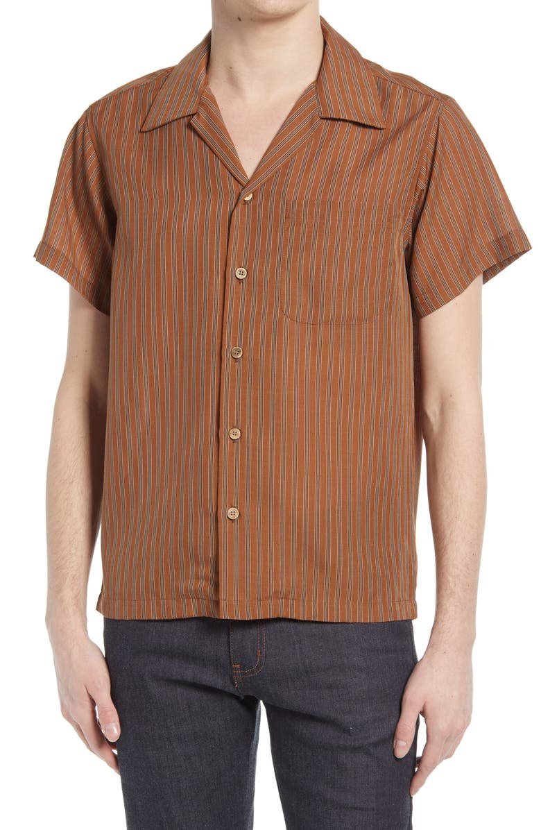 NAKED & FAMOUS DENIM Naked & Famous Aloha Stripe Short Sleeve Button-Up Camp Shirt, Main, color, RUST