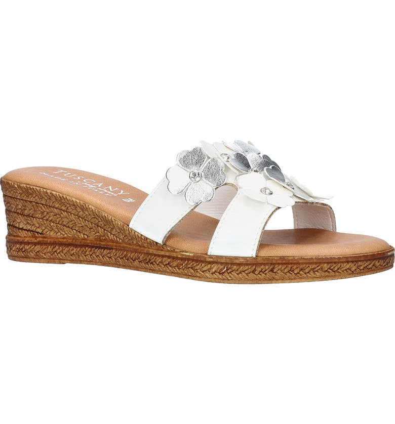 TUSCANY BY EASY STREET<SUP>®</SUP> Lilla Wedge Slide Sandal, Main, color, WHITE / SILVER FLOWERS