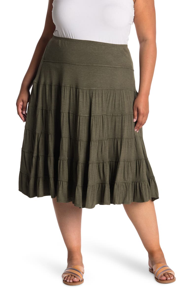 MAX STUDIO Tiered Knit Midi Skirt, Main, color, ARMY