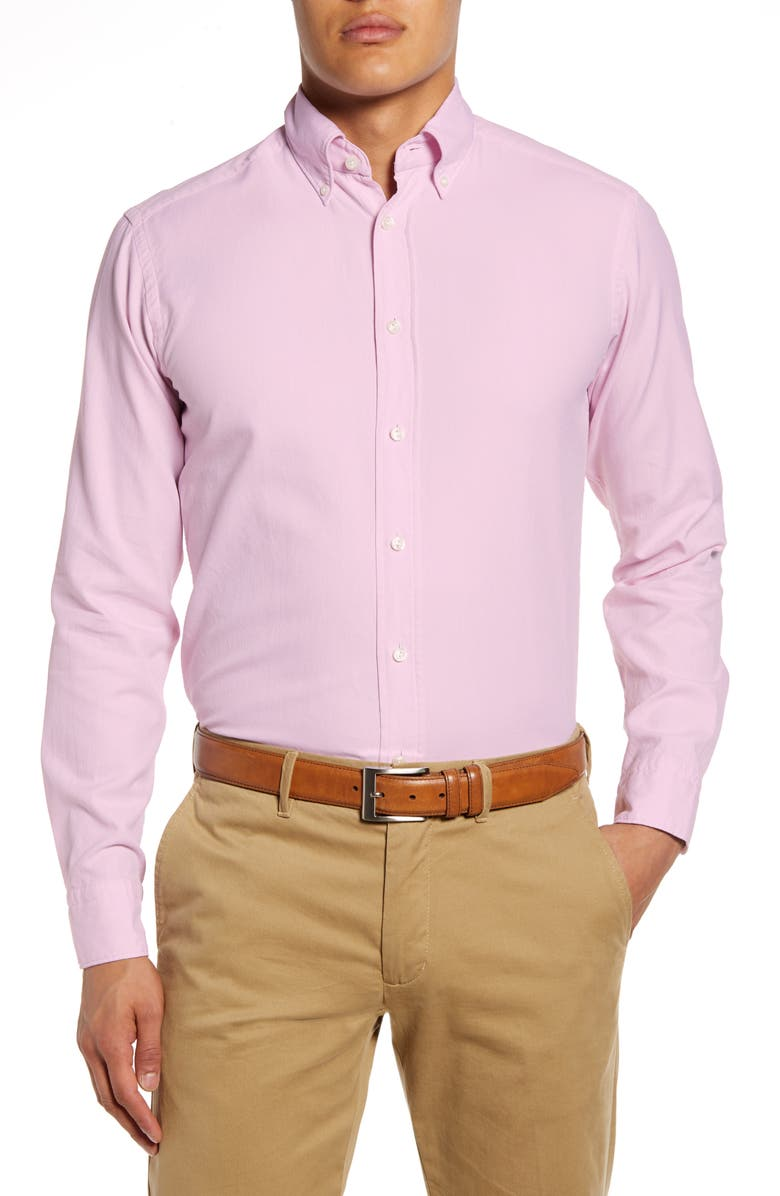ETON Soft Casual Line Slim Fit Oxford Shirt, Main, color, PINK