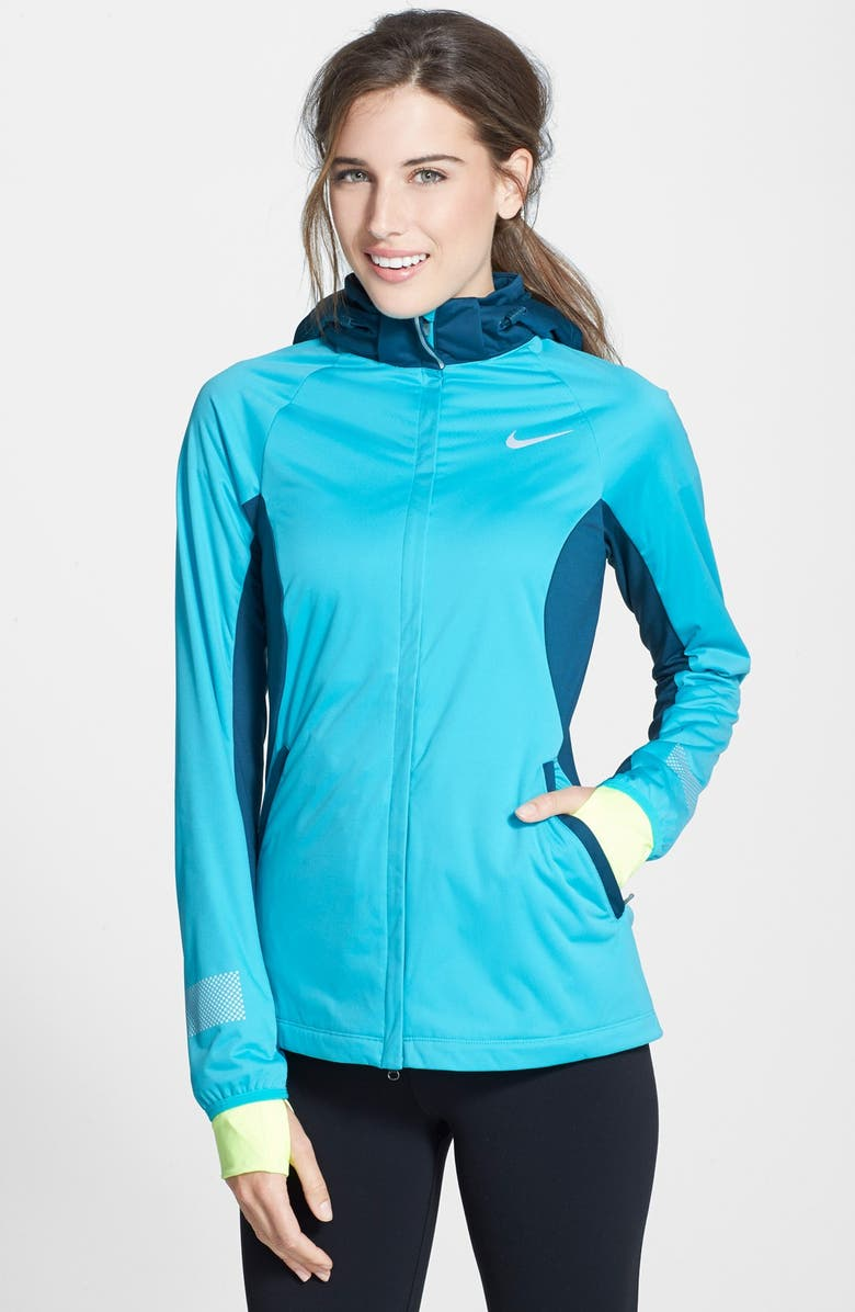 NIKE 'Shield Max' Water Repellent Hooded Running Jacket, Main, color, DUSTY CACTUS/ SPACE BLUE