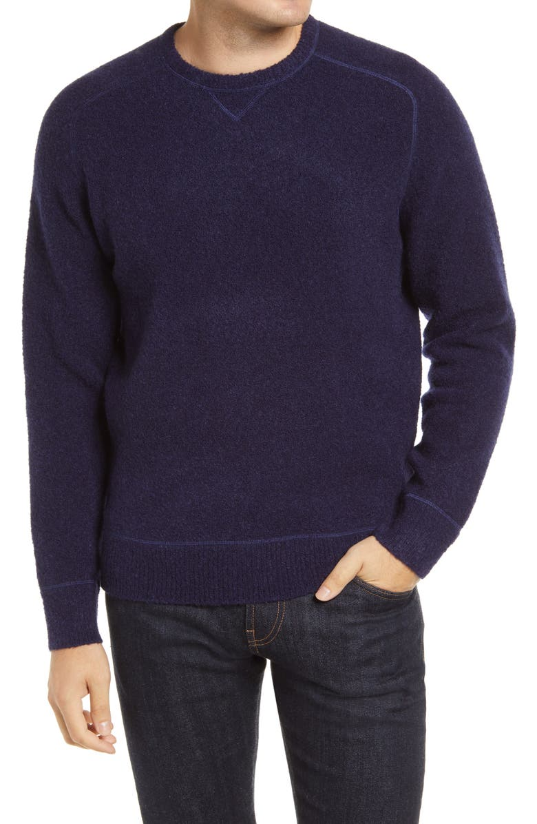 PETER MILLAR Merino Wool Blend Raglan Sweater, Main, color, NAVY
