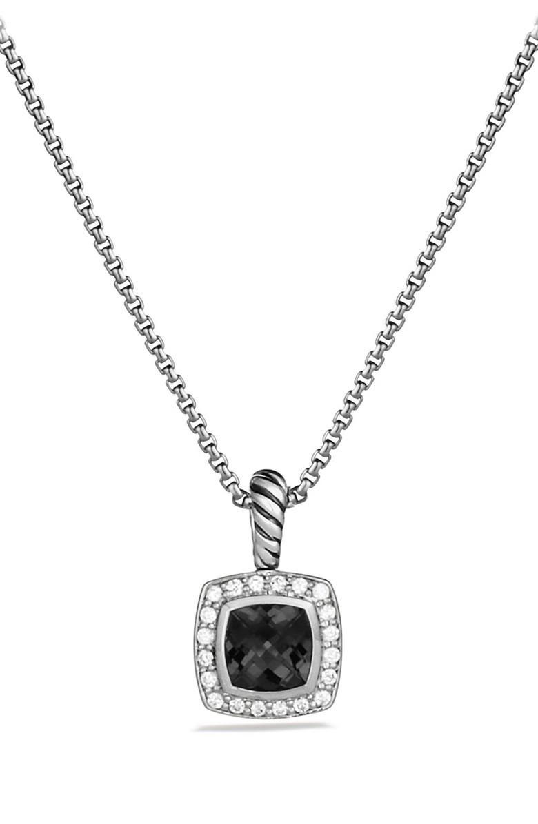 DAVID YURMAN Albion Petite Pendant with Semiprecious Stone & Diamonds on Chain, Main, color, BLACK ONYX