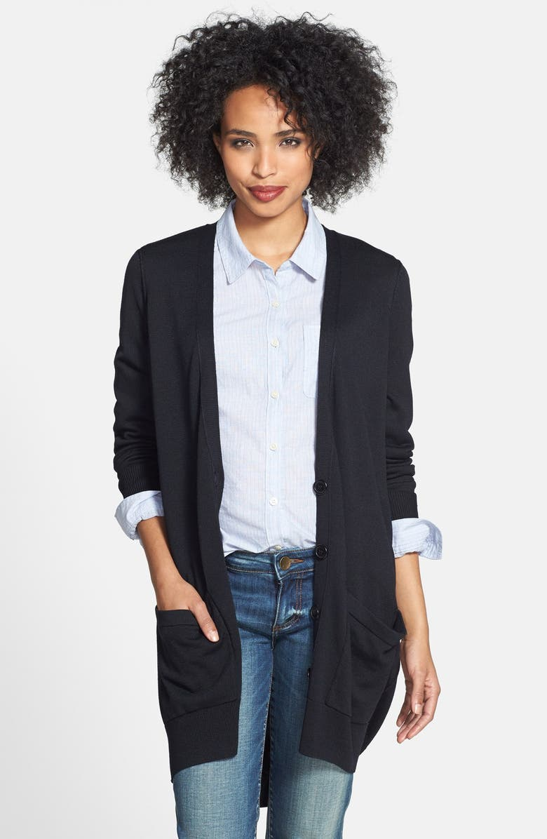HALOGEN<SUP>®</SUP> Slouchy Pocket Long Cardigan, Main, color, 001