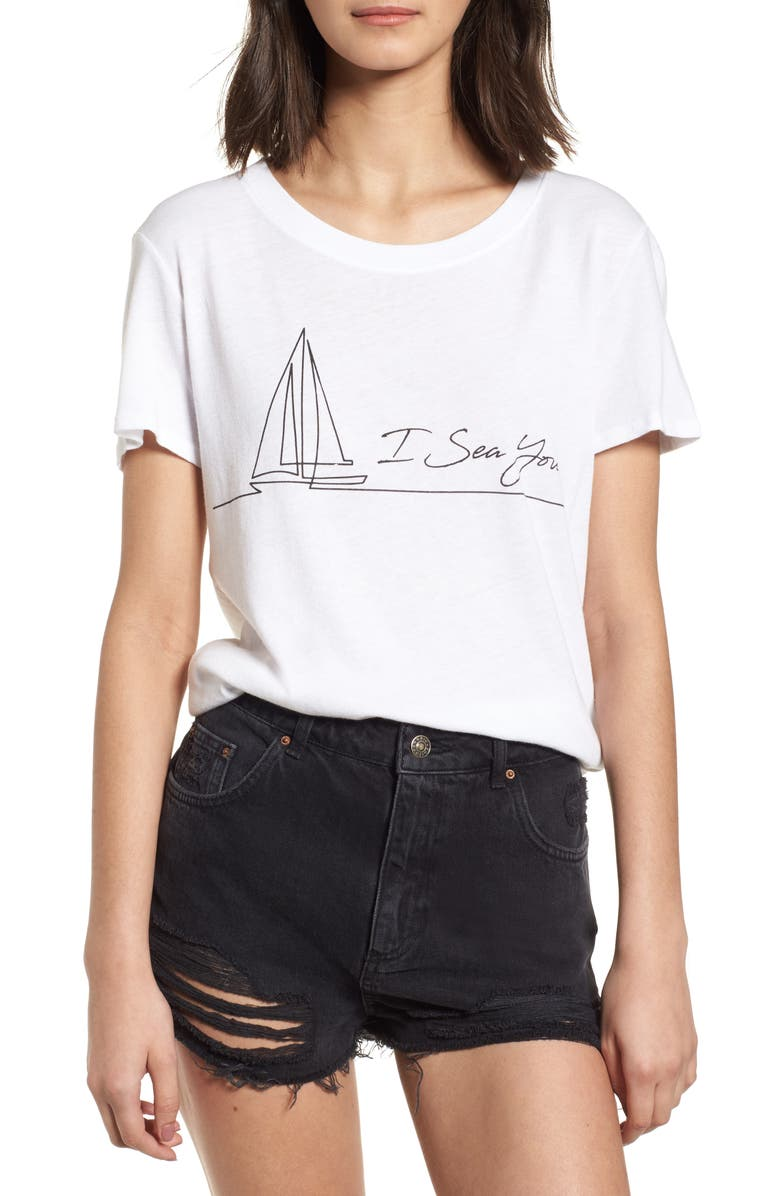 SUB_URBAN RIOT I Sea You Slouched Graphic Tee, Main, color, White