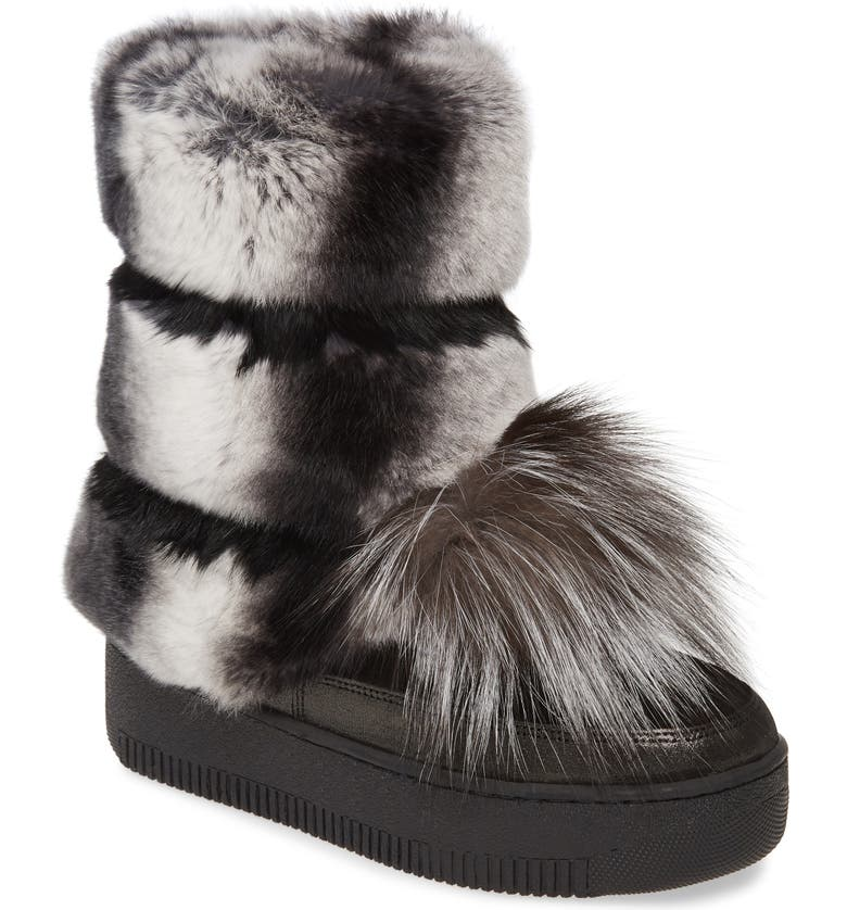 SHERIDAN MIA Tallulah Genuine Rabbit & Genuine Fox Fur Boot, Main, color, 001