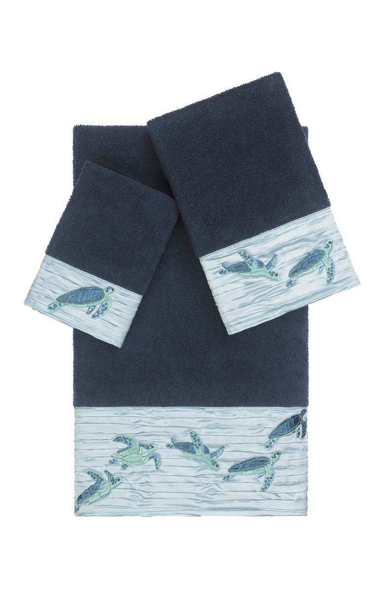 LINUM HOME TEXTILES Mia 3-Piece Embellished Towel Set - Midnight Blue, Main, color, MIDNIGHT BLUE