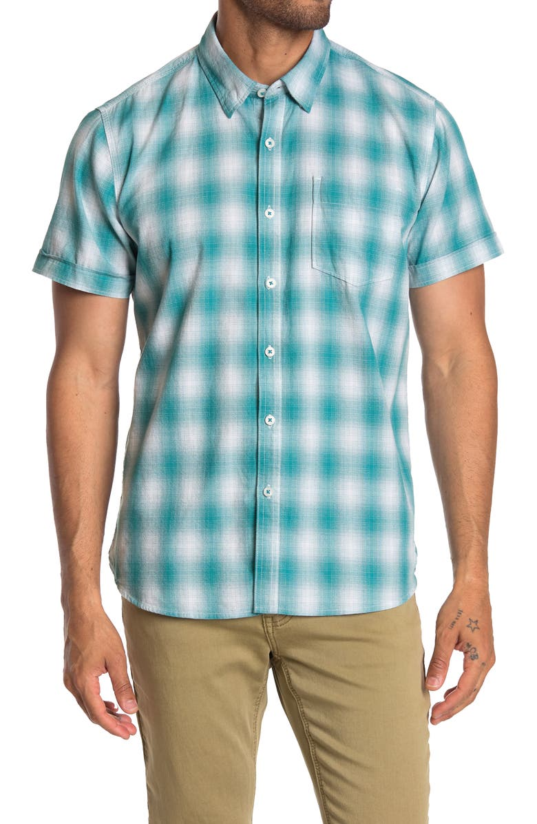 THREAD AND CLOTH Gridle Yarn Ombre Plaid Shirt, Main, color, GREEN