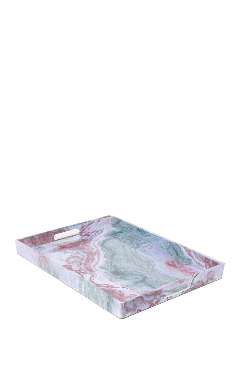 JAY IMPORTS American Atelier Marble Swirl Rectangular Tray, Main, color, RED