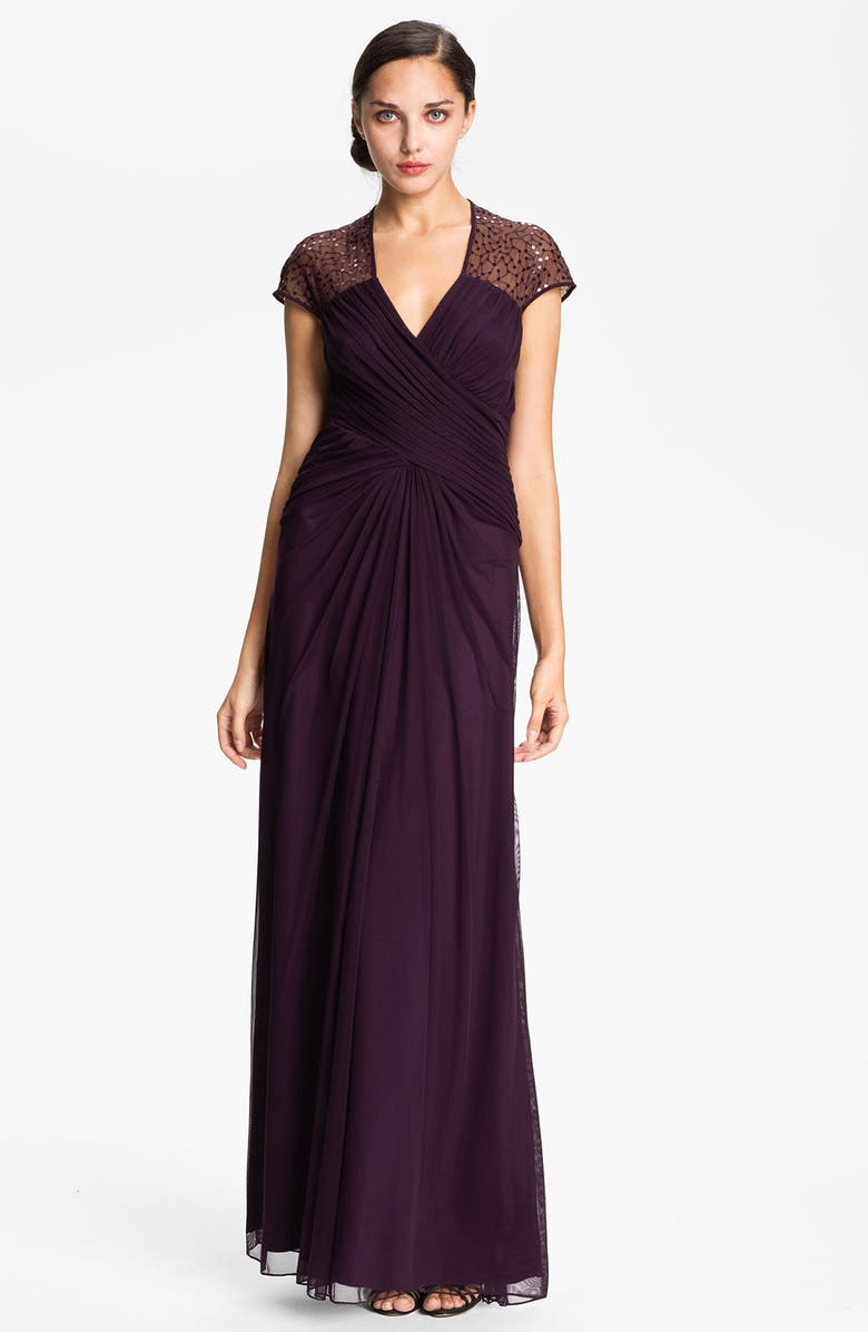 T BY TADASHI Cap Sleeve Sequin Mesh Gown, Main, color, POPPY