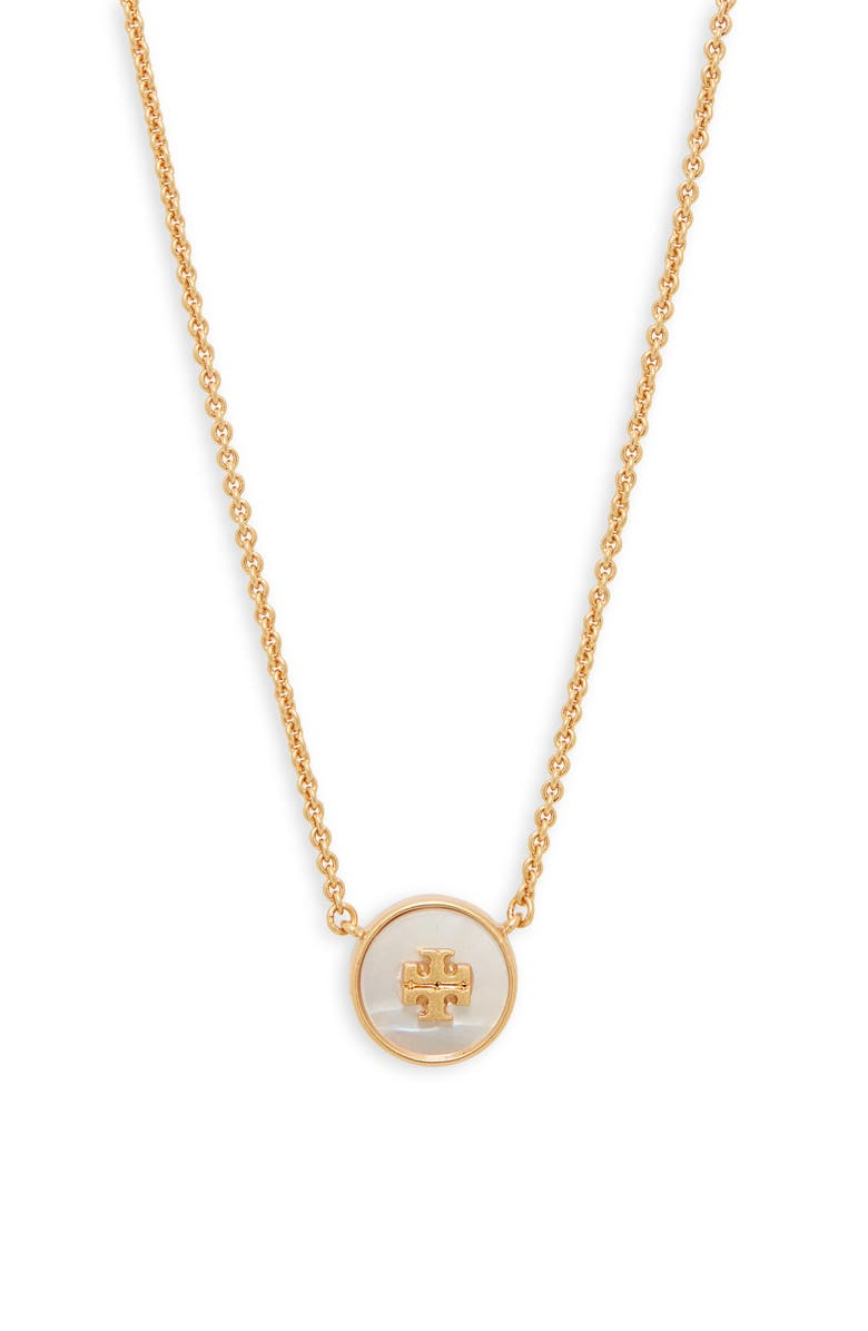 TORY BURCH Kira Semiprecious Stone Pendant Necklace, Main, color, ROLLED BRASS / MOTHER OF PEARL
