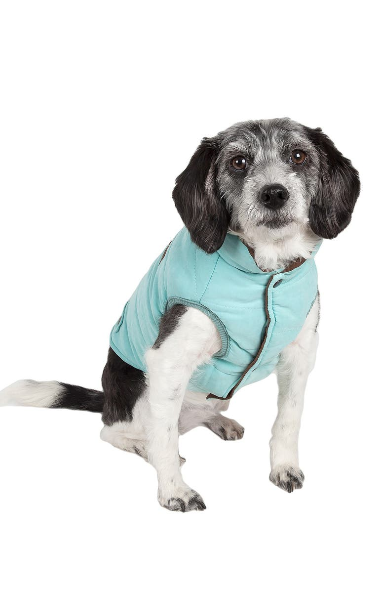 TOUCHDOG Waggin Swag Reversible Insulated Pet Coat - Large, Main, color, BLUE / BROWN