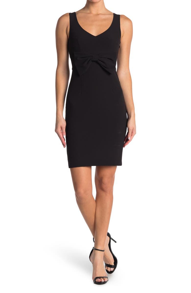 MOSCHINO Bow Front Woven Dress, Main, color, BLACK