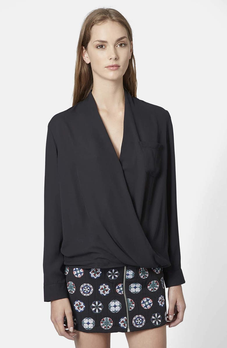 TOPSHOP Surplice Pocket Blouse, Main, color, 001