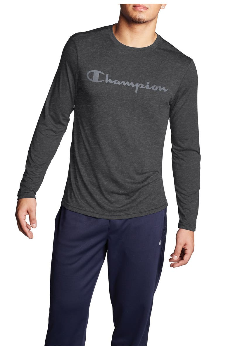 CHAMPION Double Dry Graphic Long Sleeve Tee, Main, color, VETIVER GRAY HEATHER