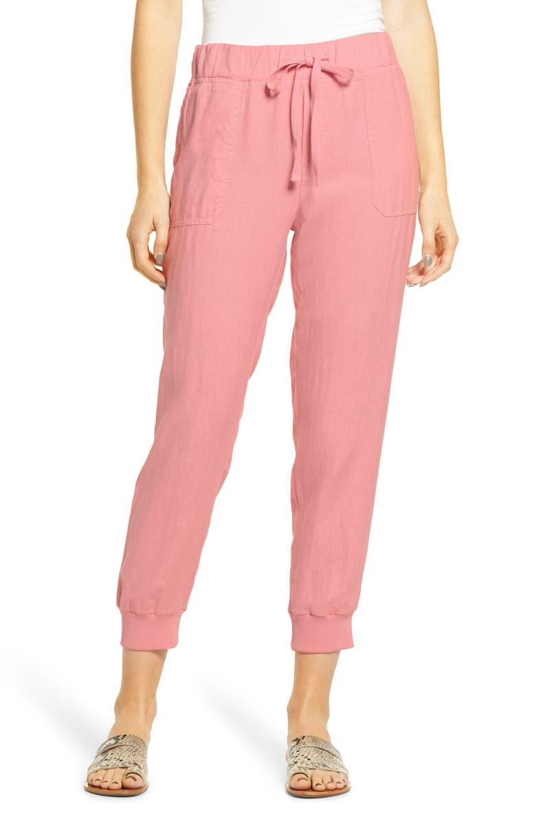 CASLON<SUP>®</SUP> Linen Joggers, Main, color, PINK BRIDE
