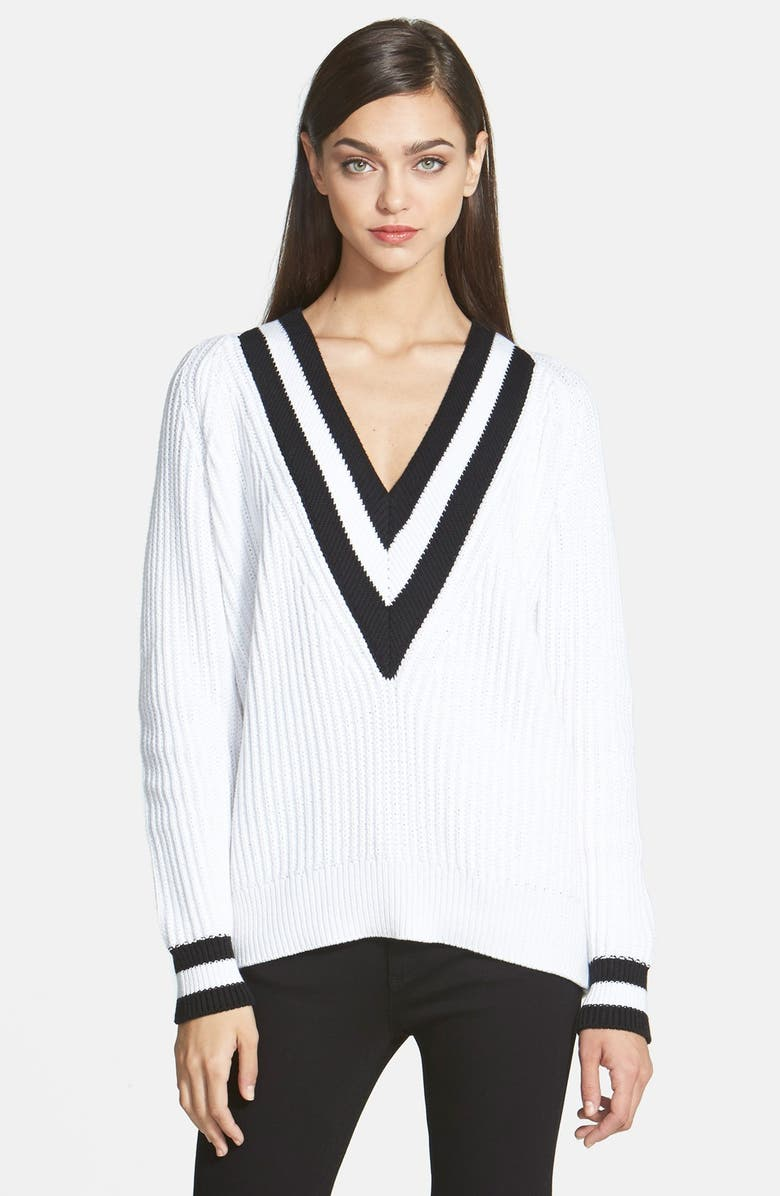 TROUVÉ Cricket V-Neck Sweater, Main, color, 100