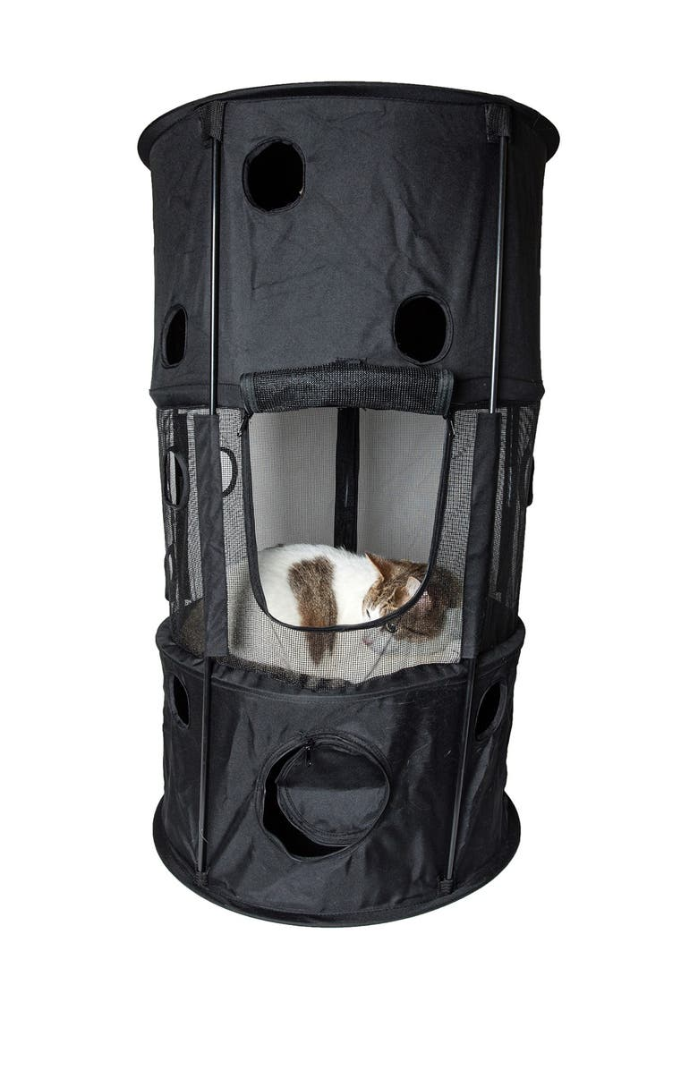 PETKIT Black Climbertree Circular Obstacle Play-Active Travel Collapsible Travel Pet Cat House, Main, color, BLACK