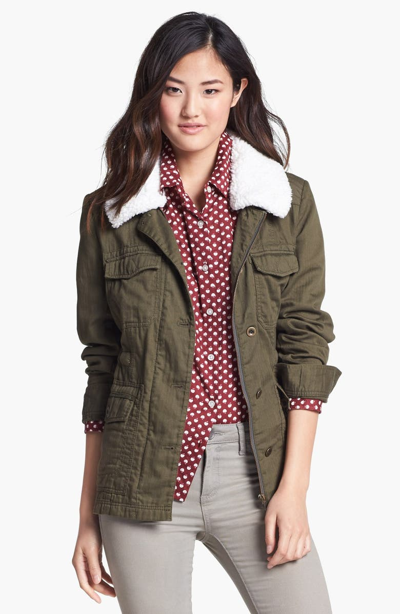 CASLON<SUP>®</SUP> Removable Faux Shearling Collar Utility Jacket, Main, color, OLIVE TUSCAN