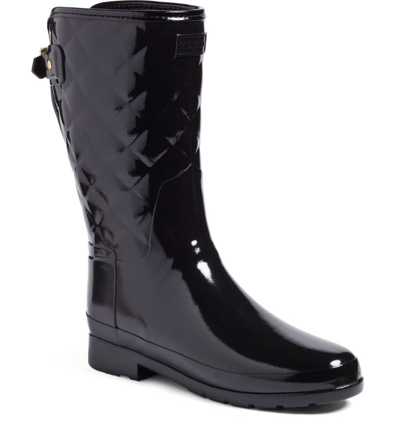 HUNTER Refined High Gloss Quilted Short Rain Boot, Main, color, Black
