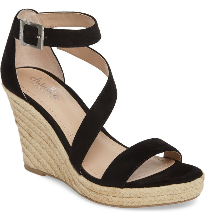 CHARLES BY CHARLES DAVID Lou Asymmetrical Wedge Sandal, Main, color, 001