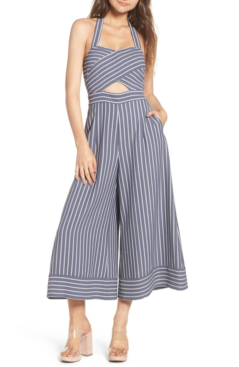 LEITH Stripe Convertible Halter Jumpsuit, Main, color, 030