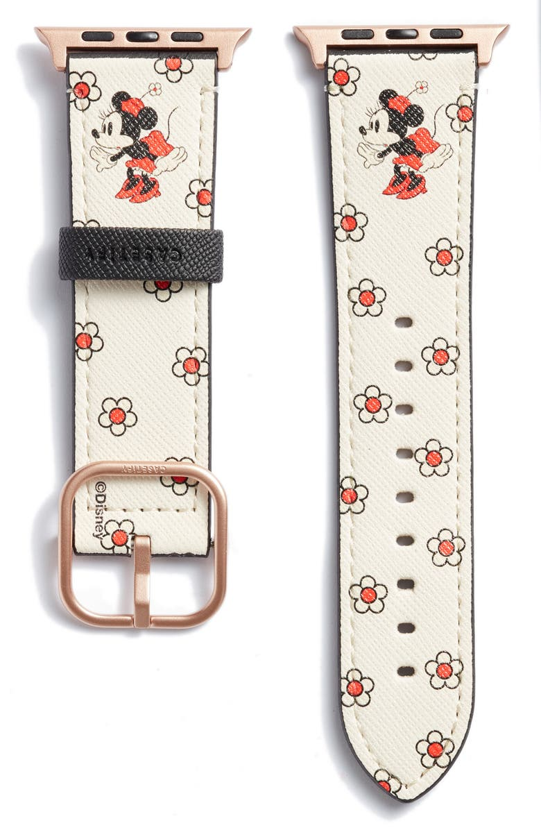 CASETIFY Disney x CASETiFY Minnie Mouse Saffiano Faux Leather Apple Watch<sup>®</sup> Band, Main, color, MATTE-WHITE SAND