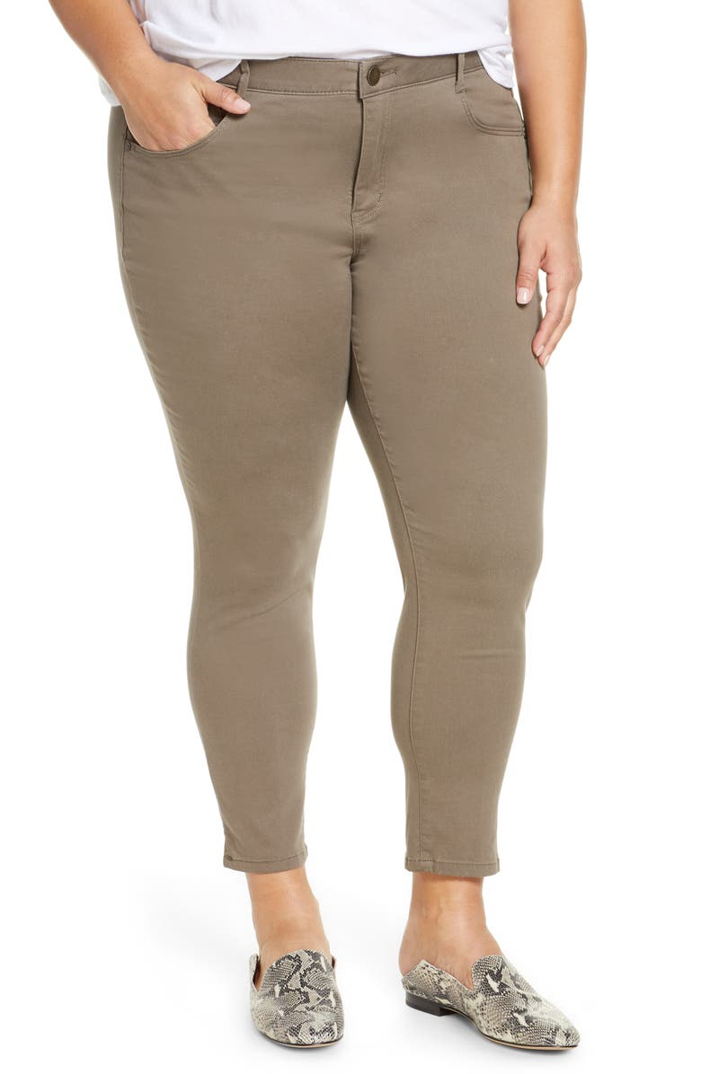 WIT & WISDOM Ab-Solution High Waist Ankle Skinny Pants, Main, color, BRINDLE OLIVE