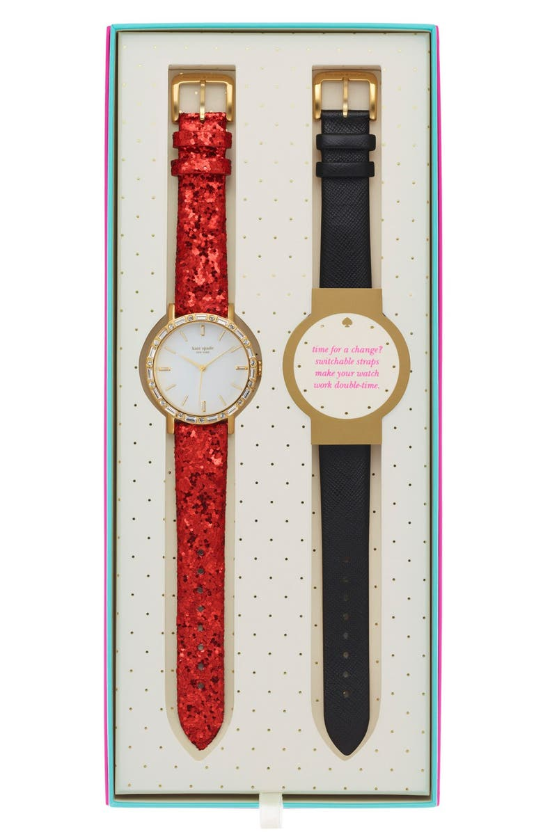 KATE SPADE NEW YORK 'metro' crystal bezel watch & straps set, 38mm, Main, color, 001