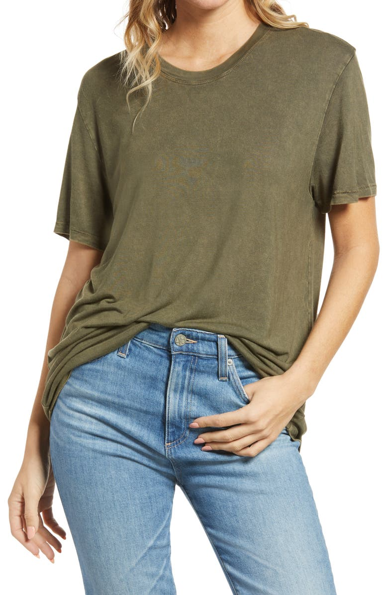 TREASURE & BOND Mineral Wash Tee, Main, color, OLIVE NIGHT