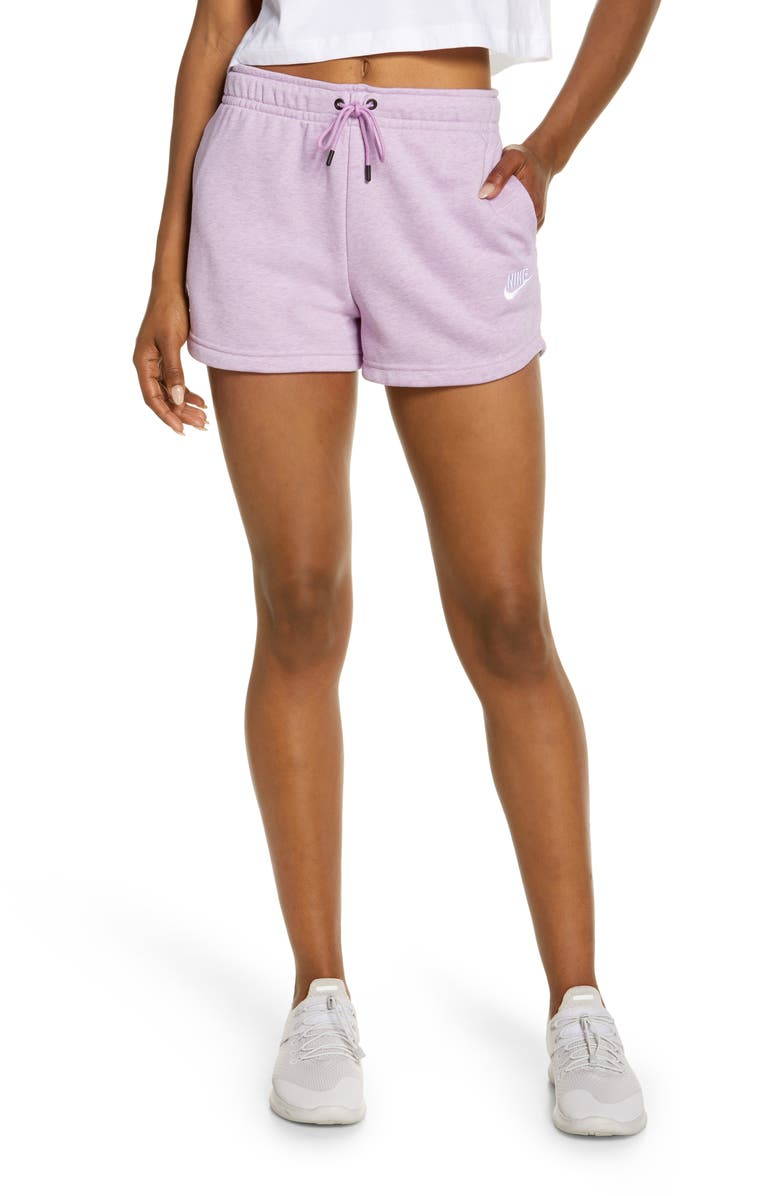 NIKE Essential Shorts, Main, color, VIOLET SHOCK/ HEATHER/ WHITE