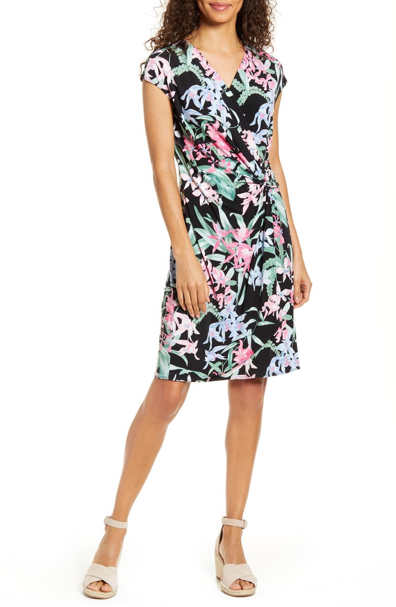 TOMMY BAHAMA Orchid Isle Faux Wrap Dress, Main, color, Black