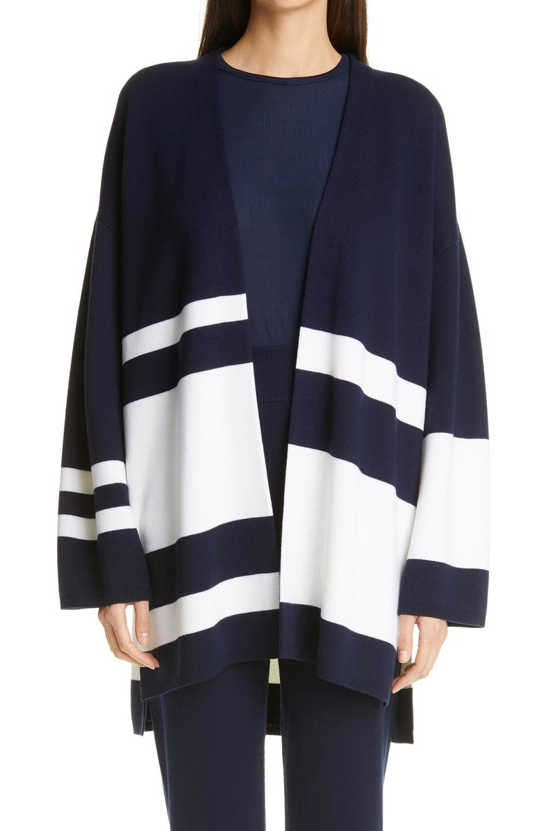 ST. JOHN COLLECTION High/Low Milano Knit Cardigan, Main, color, NAVY/IVORY