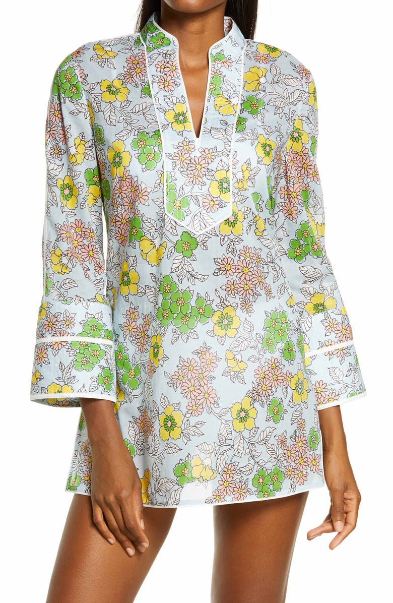 TORY BURCH Floral Cover-Up Tunic, Main, color, BLUE WALLPAPER FLORAL