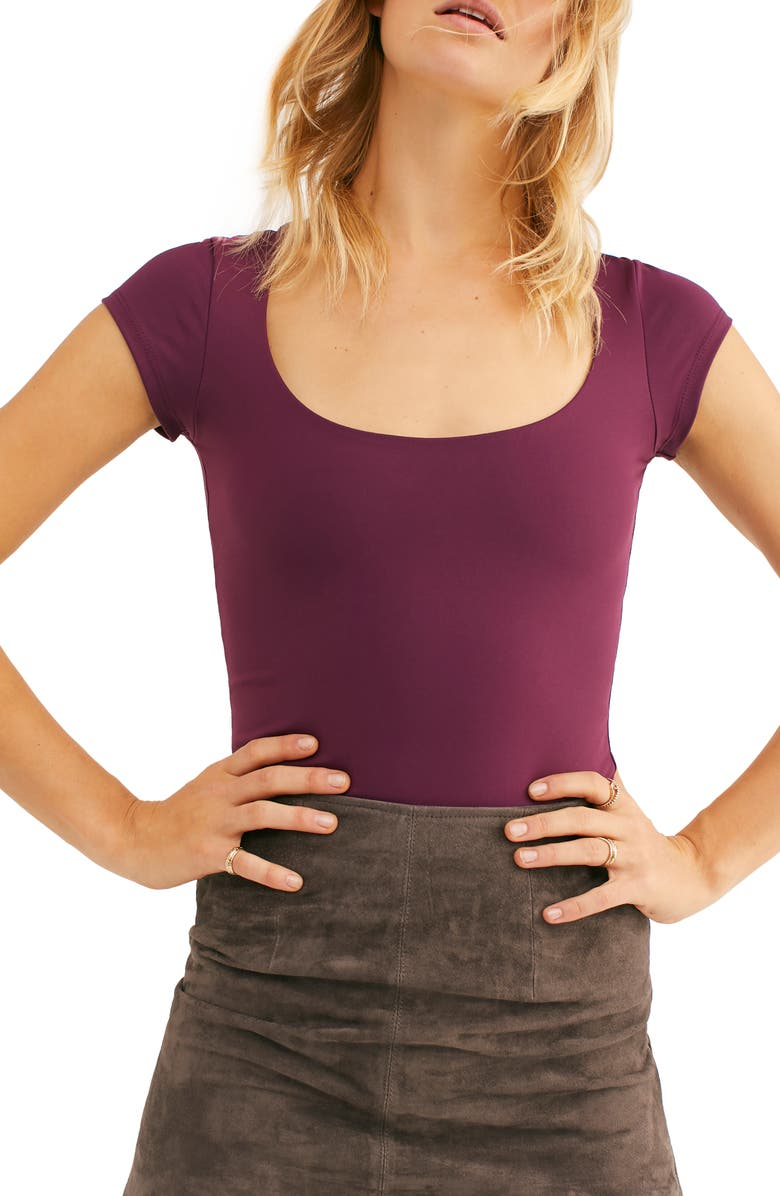 FREE PEOPLE In Her Power Scoop Neck T-Shirt, Main, color, PLUM WINE