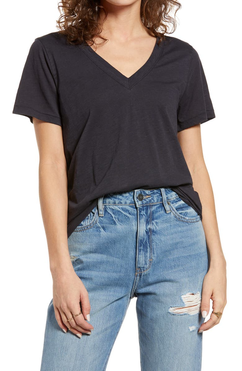 MADEWELL Whisper Lightweight Cotton V-Neck T-Shirt, Main, color, NIGHT VISION