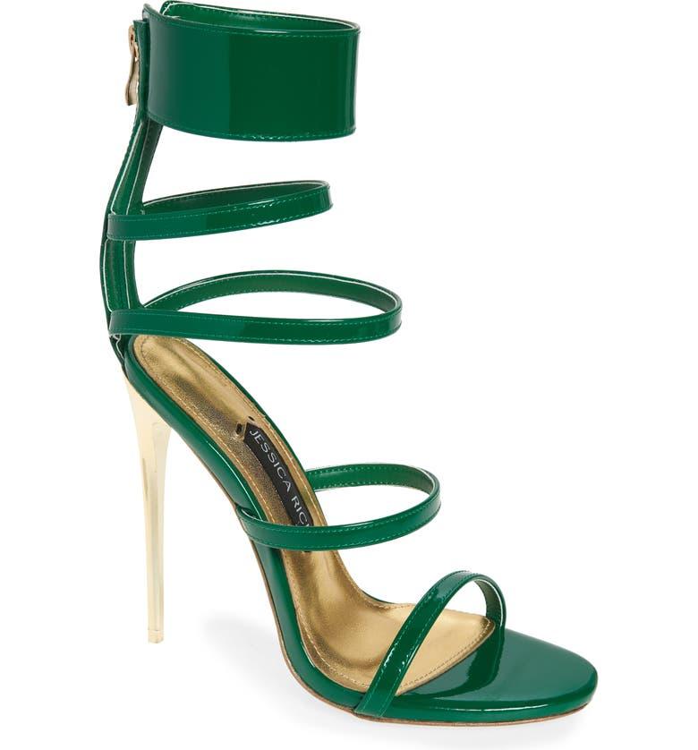 JESSICA RICH Goddess Sandal, Main, color, GREEN FAUX PATENT LEATHER