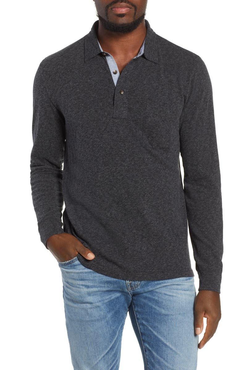 FAHERTY BRAND Luxe Heather Long Sleeve Polo, Main, color, WASHED BLACK