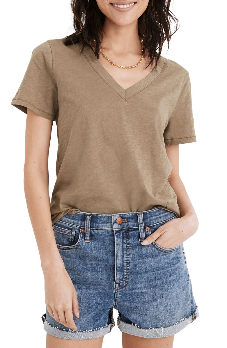 MADEWELL Whisper Cotton V-Neck T-Shirt, Main, color, DISTANT SURPLUS