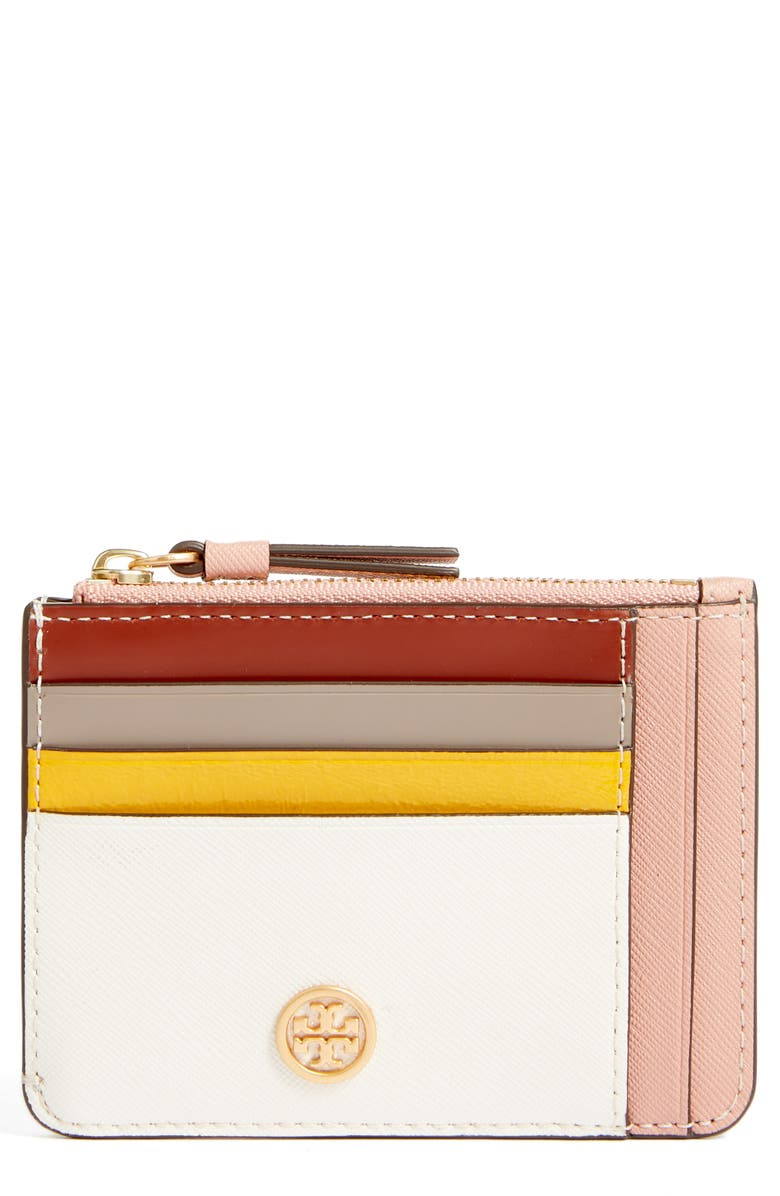 TORY BURCH Robinson Colorblock Card Case, Main, color, NEW IVORY/ PINK MOON
