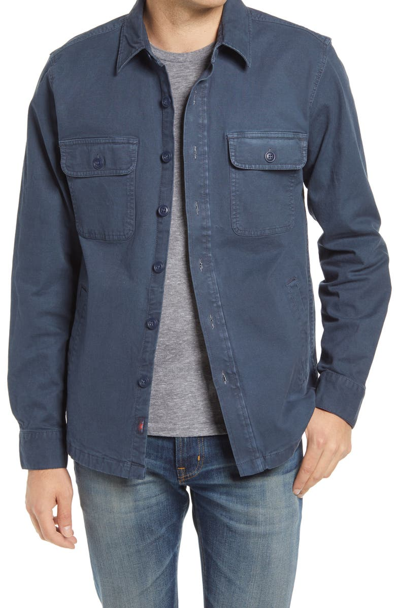 FAHERTY CPO Unlined Stretch Cotton Shirt Jacket, Main, color, NAVY