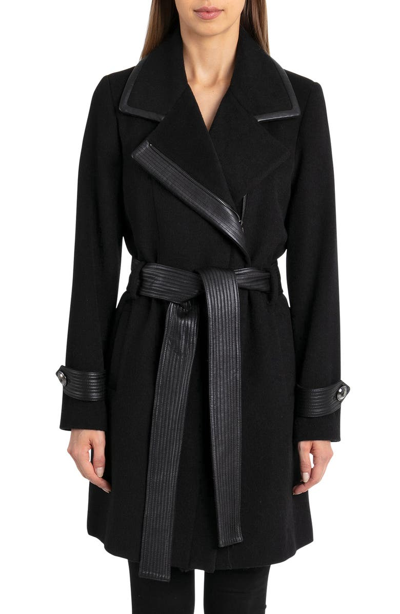 BADGLEY MISCHKA COLLECTION Badgley Mischka Faux Leather Trim Wool Blend Coat, Main, color, 001