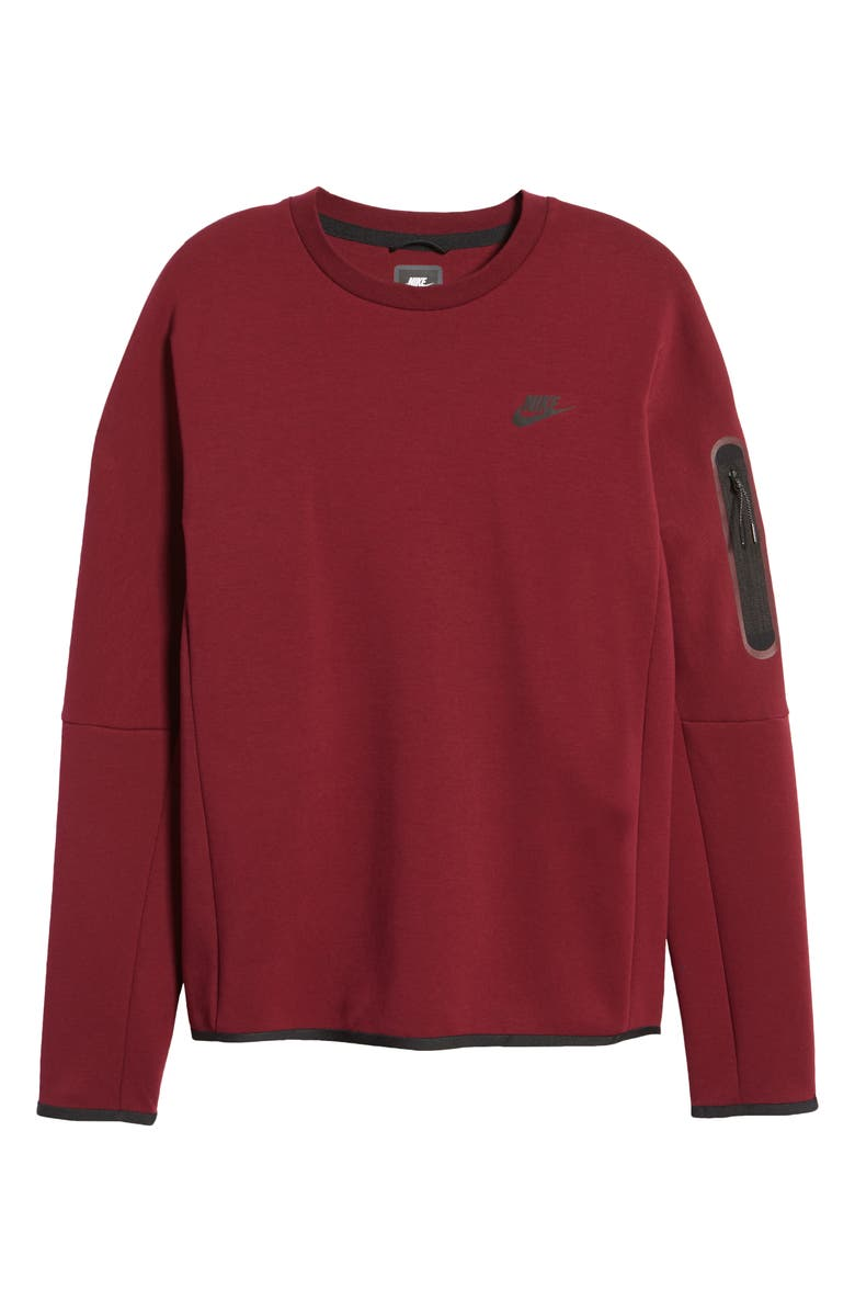NIKE Sportswear Tech Fleece Crewneck Sweatshirt, Main, color, DARK BEETROOT/ BLACK