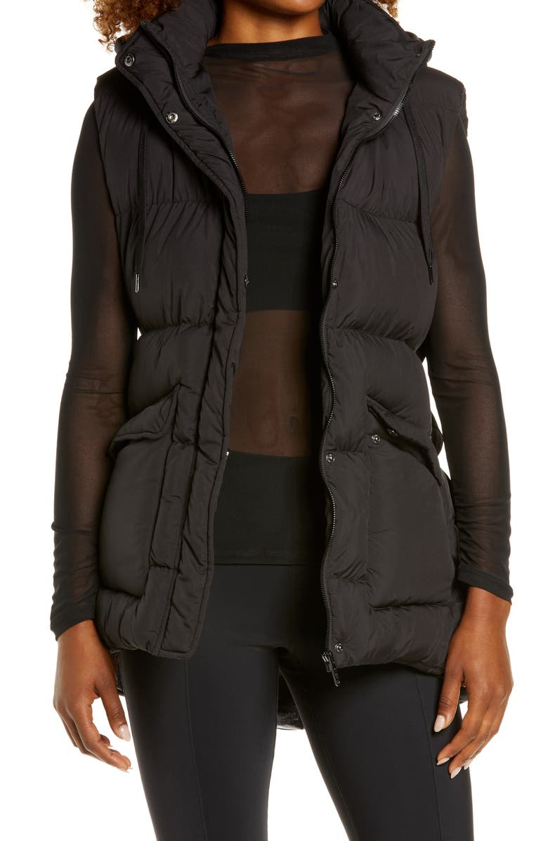 ZELLA Recycled Polyester Puffer Vest, Main, color, BLACK