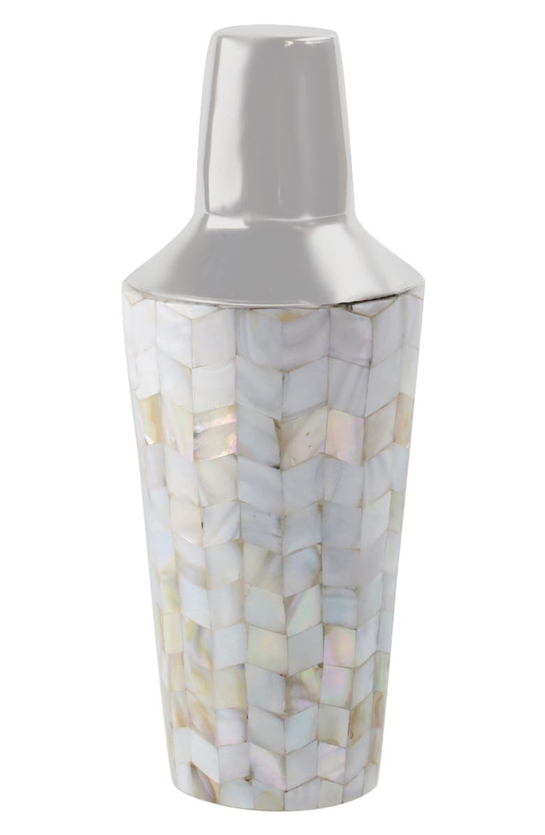 BE HOME Mother of Pearl Mosaic Cocktail Shaker, Main, color, PEARL