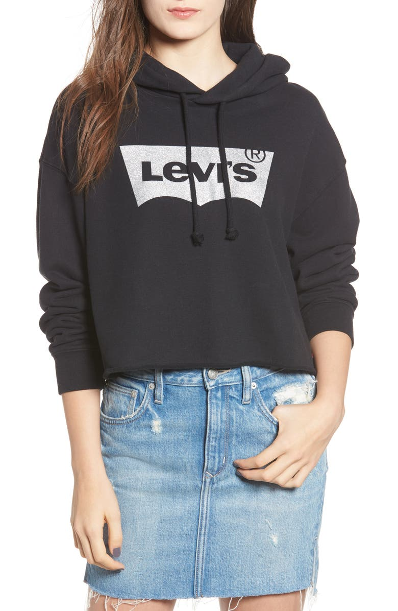 LEVI'S<SUP>®</SUP> Logo Graphic Hoodie, Main, color, BLACK GRAPHIC