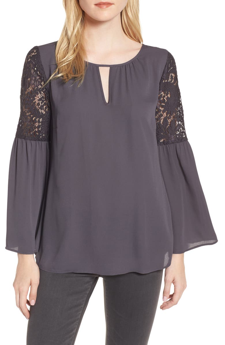 CHELSEA28 Lace Bell Sleeve Top, Main, color, 021