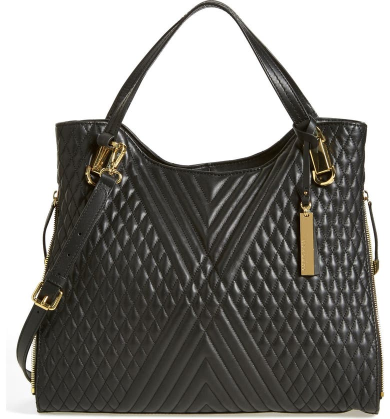VINCE CAMUTO 'Riley' Quilted Leather Tote, Main, color, 001