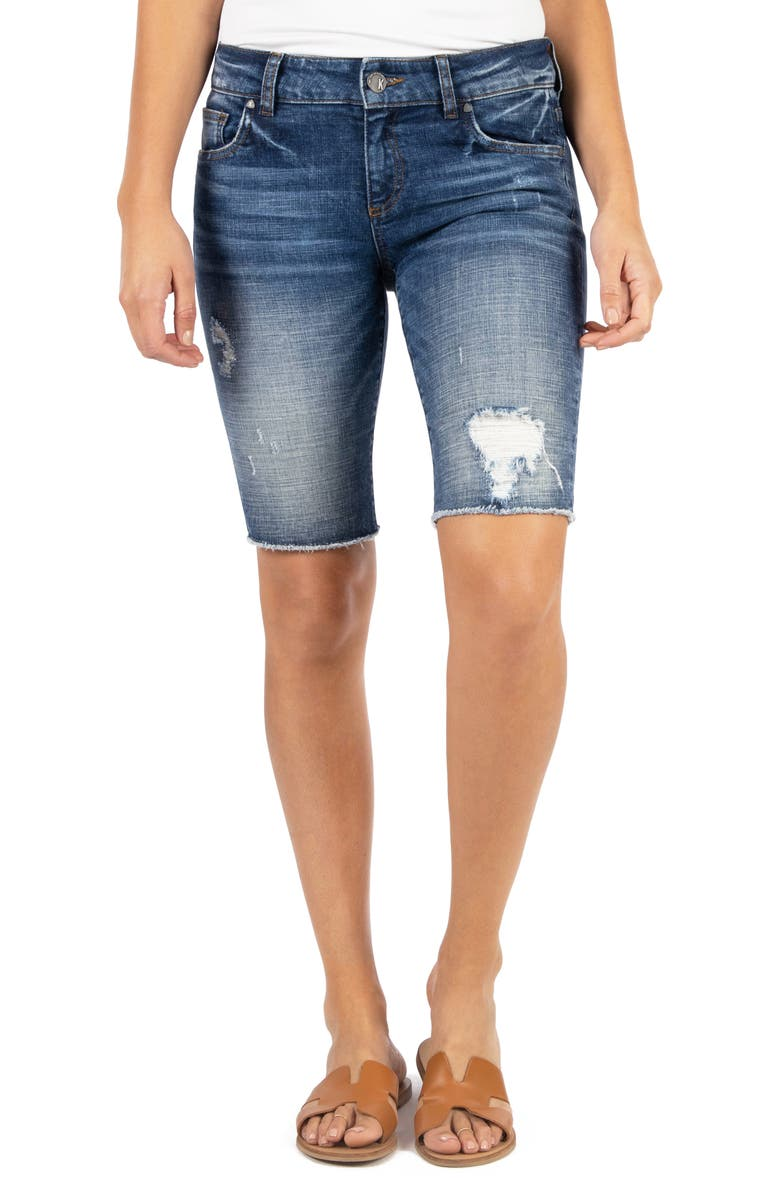 KUT FROM THE KLOTH Sophie Distressed Denim Bermuda Shorts, Main, color, INCLUDE